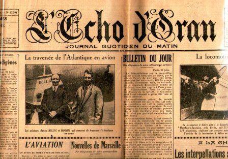 L'ECHO-D' ORAN  - QUOTIDIEN ORANAIS- JUIN 1931