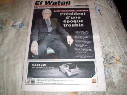 EL-WATAN DU 07/10/2012- DECES DE CHADLI BENDJEDID.