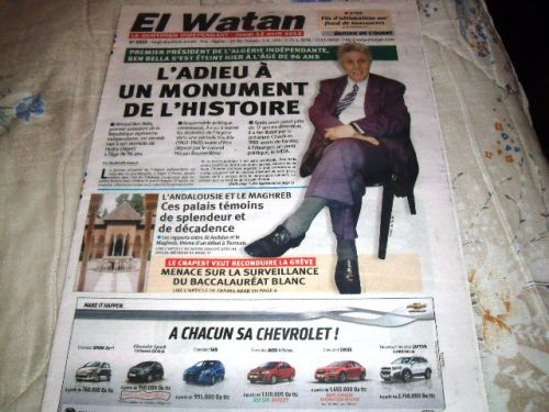 EL-WATAN DU 12/04/2012- DECES DE AHMED BENBELLA