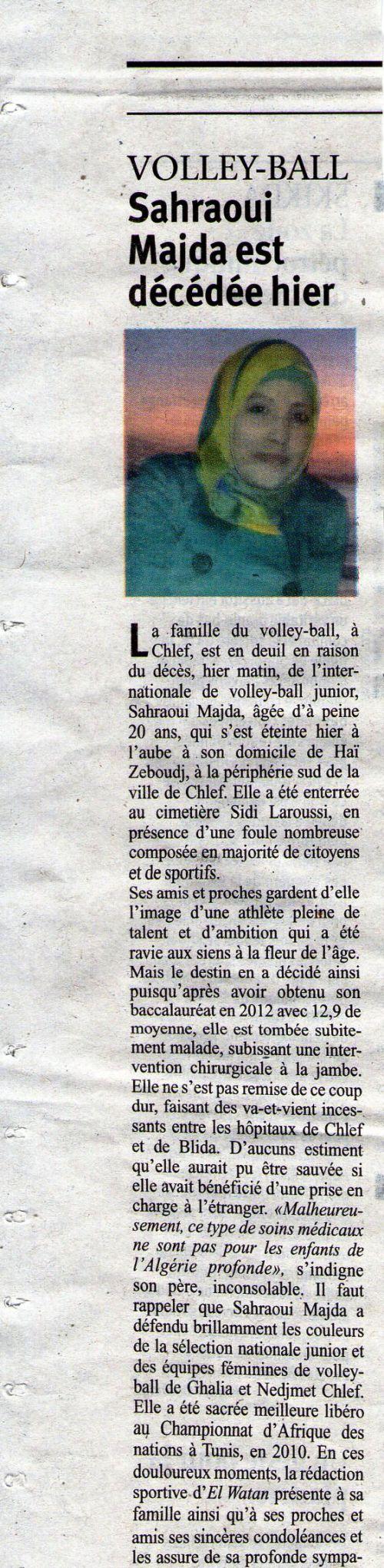 Sahraoui Majda est décédée .