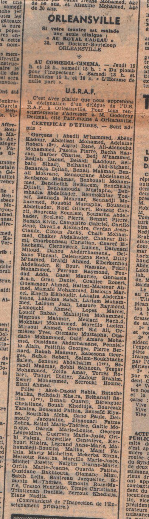Orleansville-Certificat d'études - sont admis- Journal l'Echo d'Alger du 28/05/1958