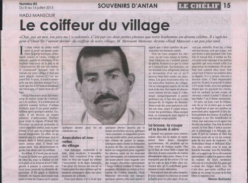 Le coiffeur du village. Le Chelif du 08/7/2015