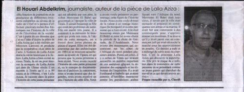 Lalla Aziza par Abdelkrim El-Houari- Le Chelif du 15/7/2015