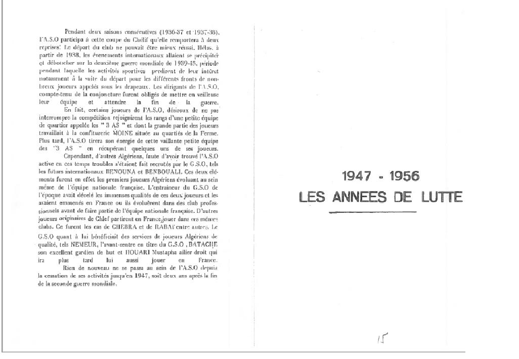 Histoire d'un club par Abdelkader El meddah-de l'ASO d'hier au CSO d'aujourdhui