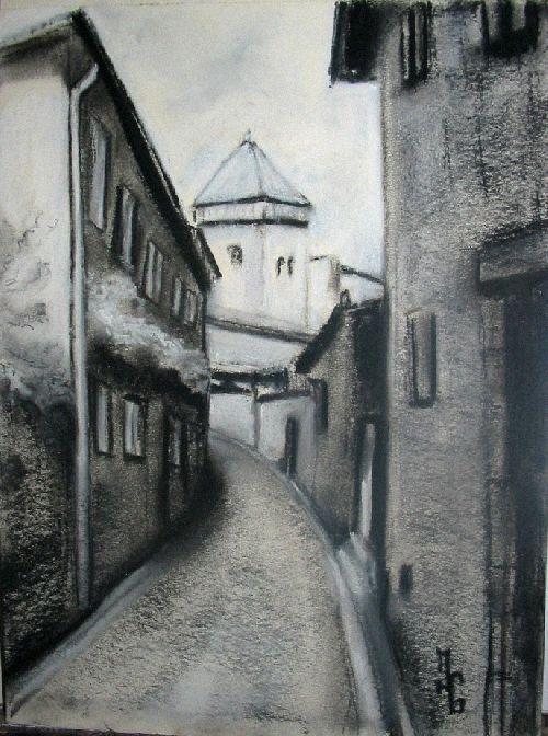 Rue de St B ( fusain)