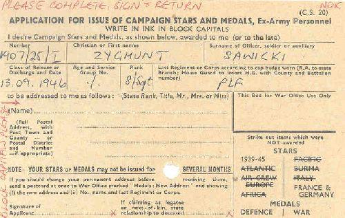 Document d\'attribution de médailes anglaises à Sawicki