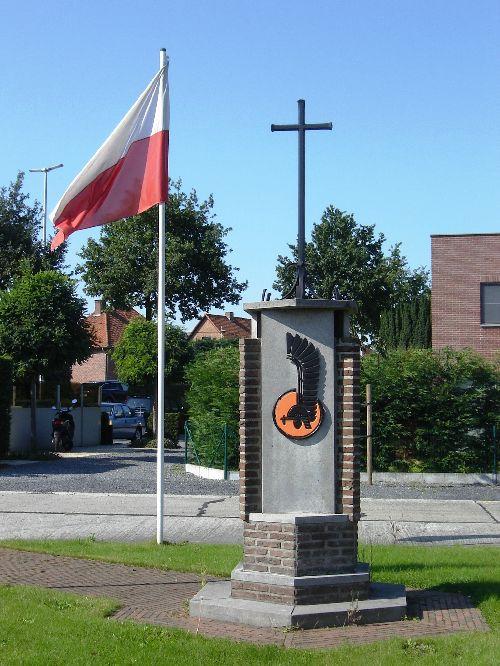 Vue avec drapeau polonais et insigne visible