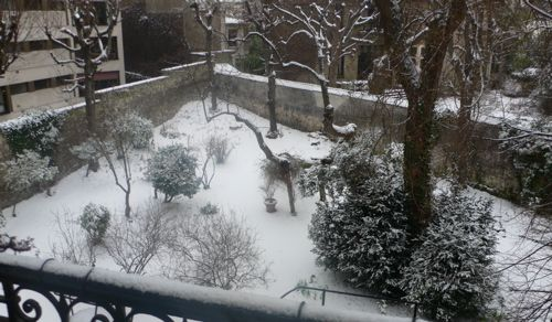 Février 2009 - le jardin du Défap sous la neige