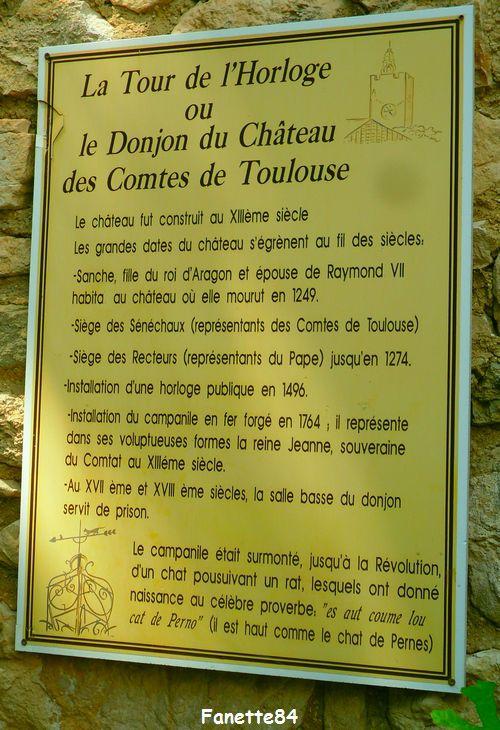 Plaque de la tour de l'horloge à Pernes les Fontaines