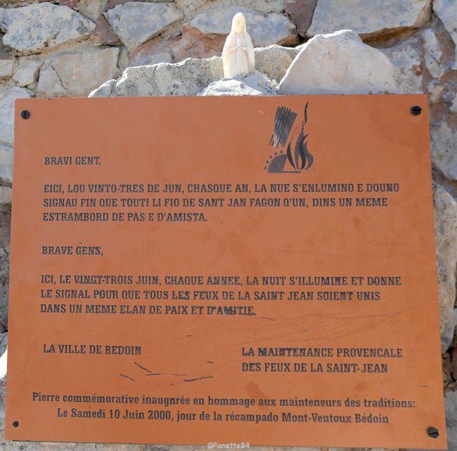 Plaque explicative du feu de la St Jean Mont-Ventoux 2015