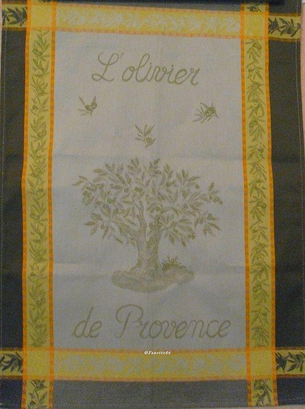 Torchon imprimé l'olivier de Provence