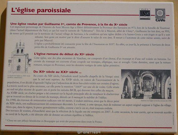 Panneau explicatif de l'église de Sarrians