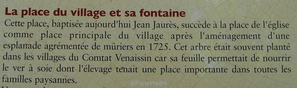 Explication de la Place de la fontaine à Sarrians