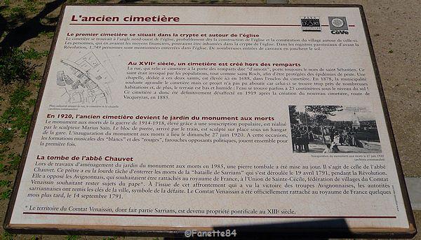 Panneau explicatif ancien cimetière à Sarrians
