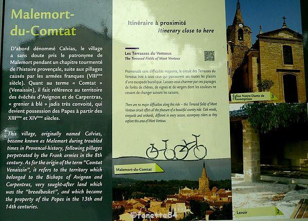 Panneau Explicatif de la ville de Malemort Du Comtat