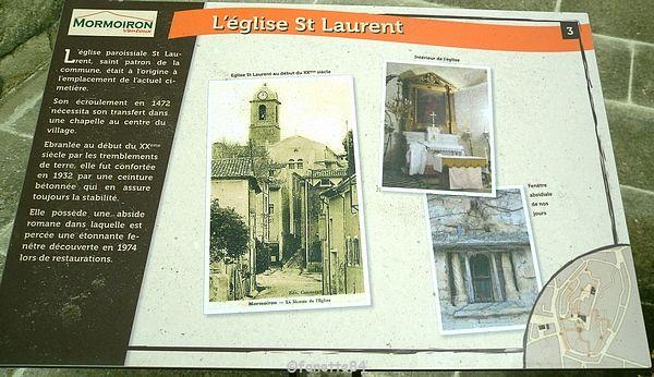 panneau explicatif de léglise St Laurent à Mormoiron