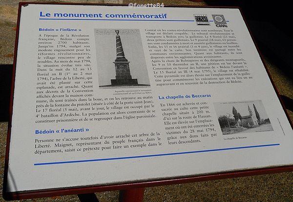 Panneau explicatif du Monument à Bédoin
