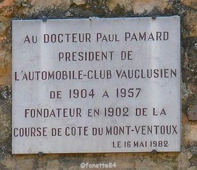 Plaque du Docteur Paul Pamard à Bédoin