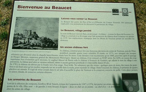 Bienvenue au Beaucet. Panneau explicatif