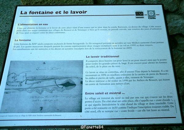 Panneau explicatif des fontaines et lavoirs au Beaucet.