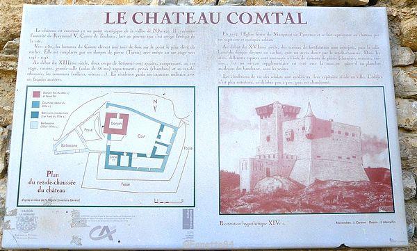 Plaque du vieux Château Comtal à Vaison la Romaine.