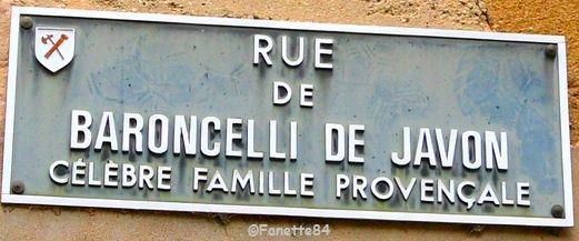 Aubignan. Plaque de rue Baroncelli de Javon. Célèbre famille provençale