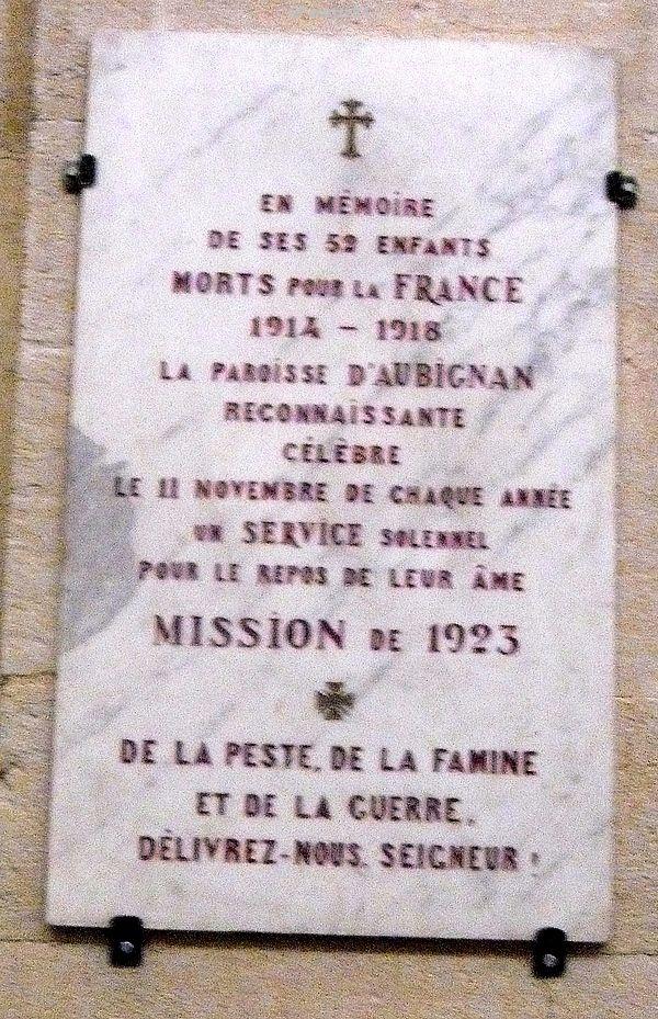 Plaque d'Aubignan en Mémoire de ses enfants morts pour la France