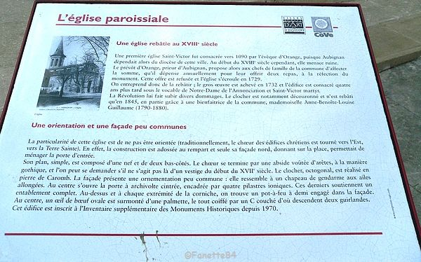 Plaque explicative de l'église paroissiale d'Aubignan