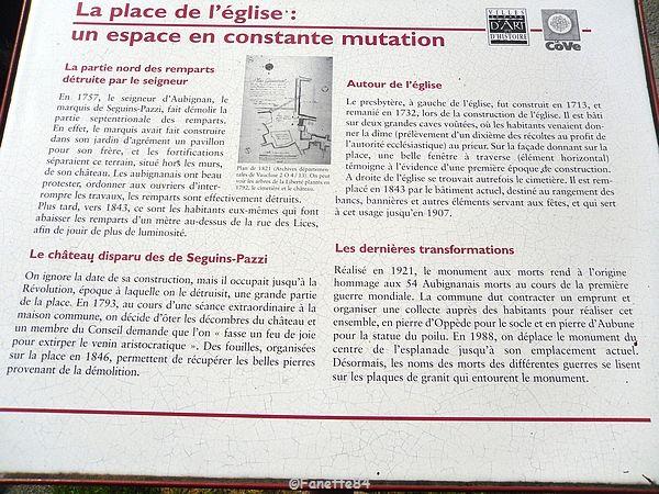 Panneau explicatif de la place de l'église d'Aubignan