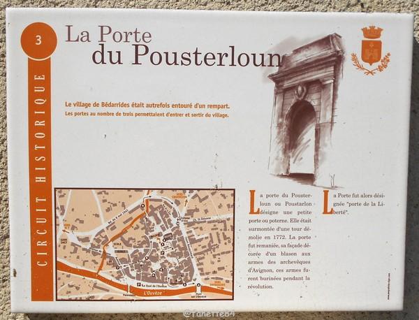 Panneau explicatif de la porte de Poustarloun à Bédarrides