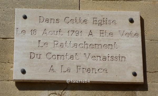 Plaque du rattachement à Bédarrides