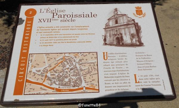 Panneau explicatif de l'église paroissiale à Bédarrides