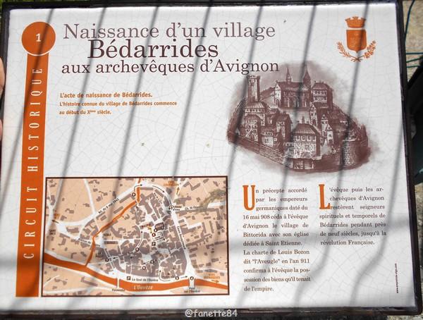 Panneau explicatif de la naissance du village de Bédarrides