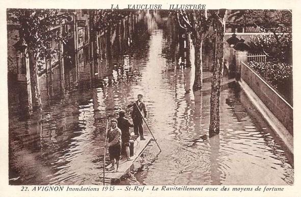 Avignon, inondation en 1935 Boulevard Saint-Ruf