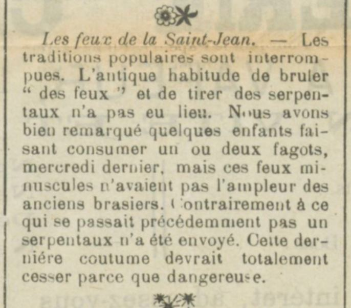 Feux de Saint Jean en 1915