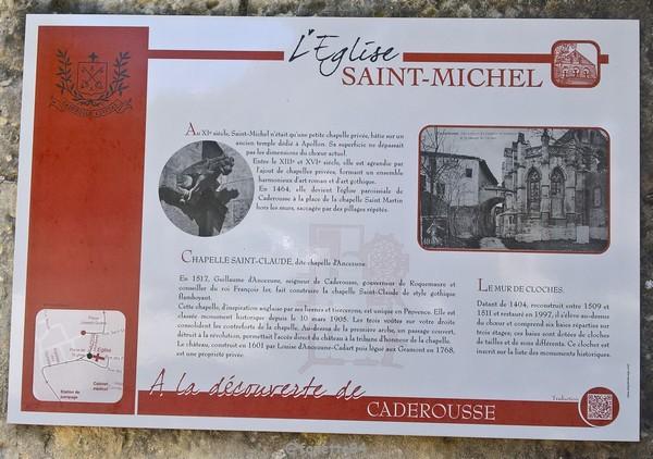 Plaque église de l'église st Michel à Caderousse