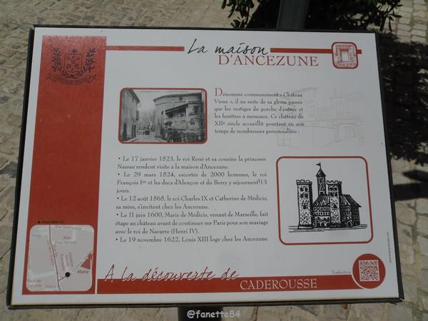 Panneau explicatif de la maison d'Ancézune à Caderousse