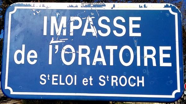 Panneau de l'impasse de l'Oratoire à Bédarrides