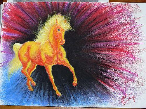 cheval fantastique très coloré (pastel 30X40 cm)