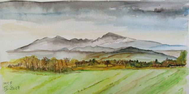 Vue du St Bathélémy et de la montagne de Tabe, Ariège.
