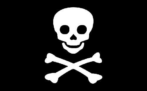 Que signifie celà? Crâne,  os croisés, blanc et noir : complexe...
