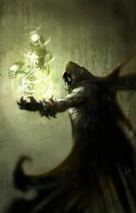 Nécromancien invoquant les fantômes des morts