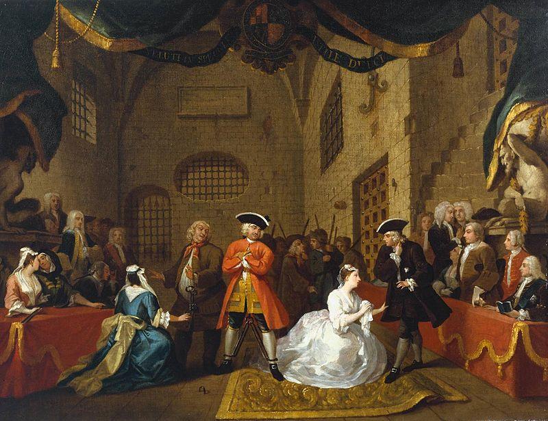 Tableau de William Hogarth vers 1728 tiré de The Beggar's Opera scène V à la Tate Britain..jpg