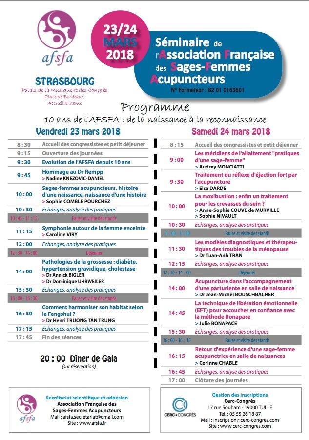 Séminaire AFSFA - 23/24 Mars 2018 Strasbourg - Acupuncture