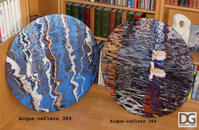 Acqua-reflets 389 et 364 sur toile ronde ronde 70cm, avant exposition.