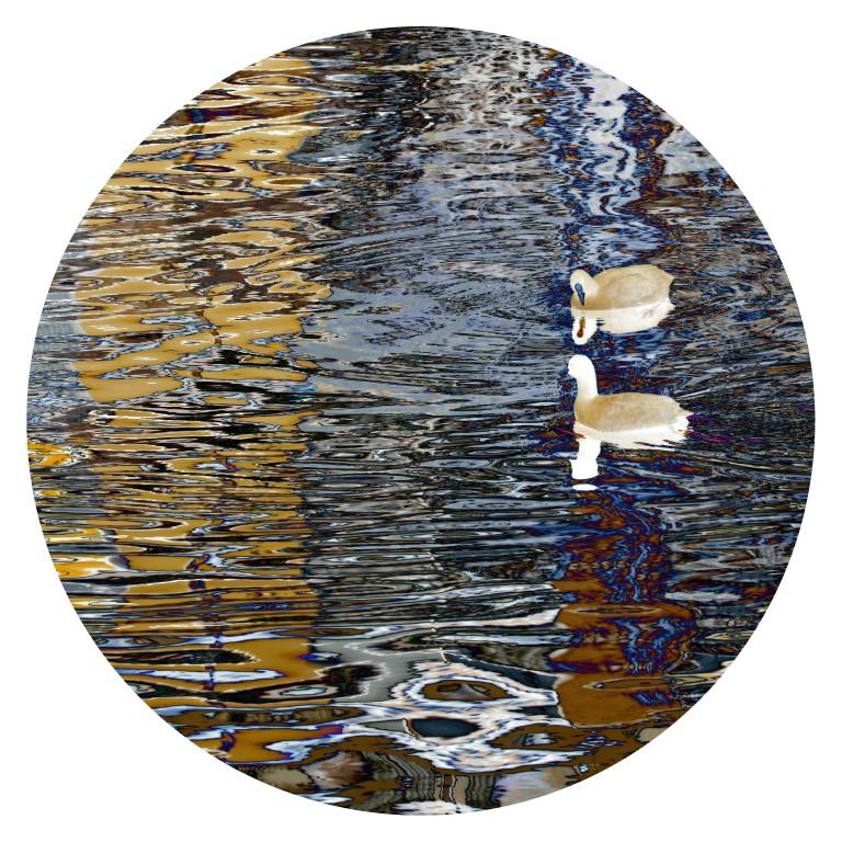 Acqua-reflets 364-PM sur toile ronde 70cm vernie