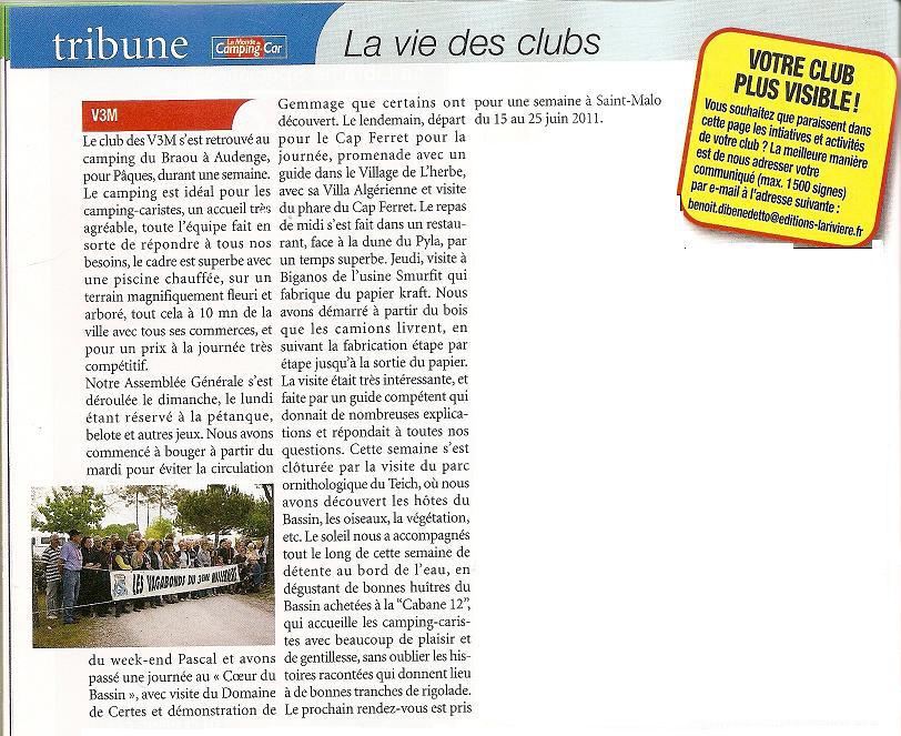 0011A MCC. Avril 2011 Arcachon. Le Monde du CC Août 2011.jpg