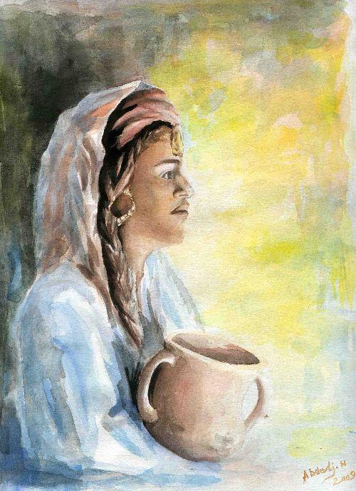 Femme -Aquarelle- de l'artiste Abdeli Halim