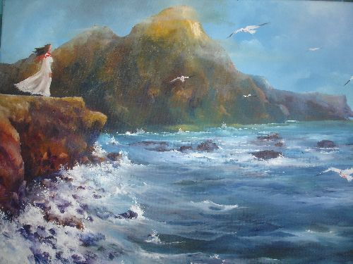 La Femme et la Mer de l'artiste Ferdagh Tayeb