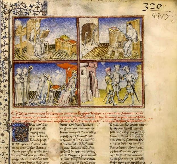 Jean de Wavrin (v. 1398-v. 1474) Chroniques d'Angleterre Geoffroi de Monmouth _crivant ; Pr_sentation du livre - Jean de Wavrin _crivant - H_l_nos Ant_nor et En_e.jpg